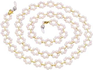 سلسلة النظارات الشمسية العلوية من كاي للنساء الفتيات أزياء اللؤلؤ الأبيض زهرة الخرزة نظارات مثبّت حبل قصير