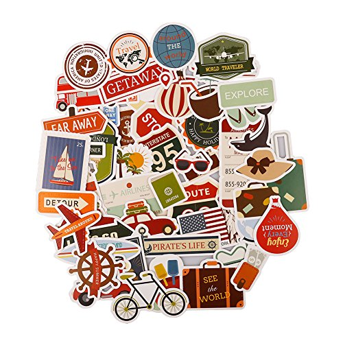FaCraft Travel Scrapbooking Cardstock and Die Cuts 50 PCS,Cute Stickers for Journey,Trip,Tour