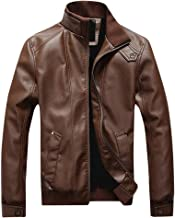 Sunward Coat for Men,Men Winter Leather Jacket Biker Motorcycle Zipper Long Sleeve Coat Top Blouses