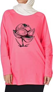Nas Trends Flower Abstract Print Long Sleeves Crew Neck Cotton Shirt For Women