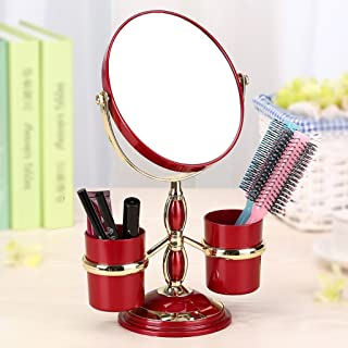 NYDZDM Desktop Makeup Mirror European Mirror Double-Sided Dressing Mirror Portable Marriage Princess Mirror 3 Times High-Definition Magnifying Table Mirror (Color : Wine Red)