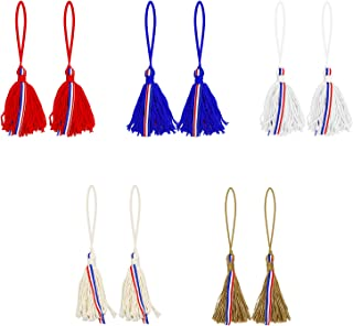 Chris.W Independence Day Hanging Tassels Decoration Set of 10- Patriotic 4th of July Red Blue White Rustic Tassels, Farmho...