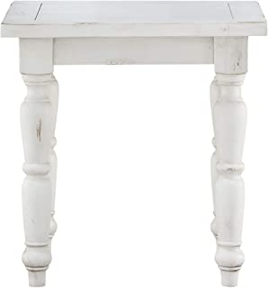 Novo Square End Table in Alabaster with Turned Legs, by Artum Hill