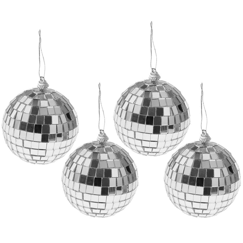 フィドルところで床クリスマス ツリー飾り ミラーボール パーティー お祝い 雰囲気作り おもちゃ 多仕様選べ - 4個8cm