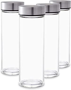 Ash & Roh Clear Glass Water Bottles Set Wide Mouth Glass Bottles with Lids - for Juicing, Smoothies, Beverage Storage Sta