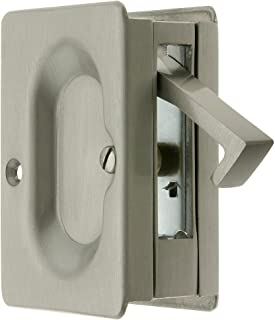 Premium Quality Mid-Century Pocket Door Passage Set in Satin Nickel