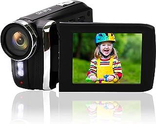 ビデオカメラ・12MP ウェブカメラ 1080P デジカメ 充電式 2.8インチの270度回転スクリーン コンパクトカメラ 8倍デジタルズーム 一時停止 YouTubeカメラ Heegomn