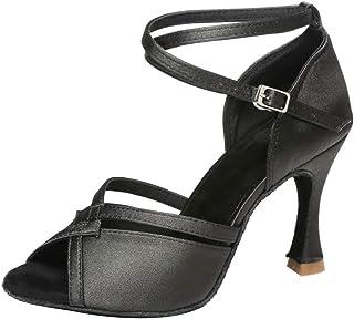 SWDZM Chaussures de Danse Femme Standard Latin Jazz Ballet Chaussures Satin Model-FR-225