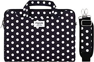 MOSISO Laptop Shoulder Bag Compatible with 13-13 3 Inch MacBook Air  MacBook Pro Retina  Surface Laptop Surface Book  Canvas Briefcase Case Sleeve with Back Trolly Belt  Black Base White Dots