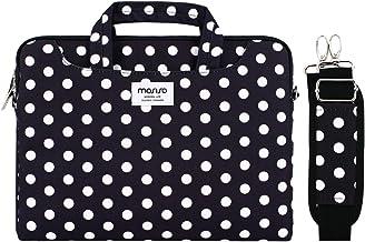 MOSISO Laptop Schultertasche Kompatibel mit 13-13,3 Zoll MacBook Pro, MacBook Air, Notebook mit Zurück Trolly Gürtel, Canvas Muster Aktentasche Hülle Sleeve Tasche, Schwarz Basis Weiß Punkte