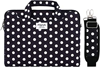 MOSISO Funda Protectora Compatible con 13-13.3 Pulgadas MacBook Air/MacBook Pro Retina/Surface Laptop/Book, Bolsa de Hombro Patrón Maletín Bandolera con Cinturón de Carro, Base Negro Puntos
