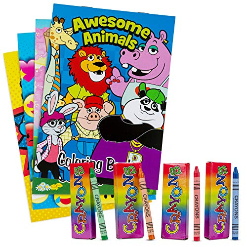 Favonir Party Favor Coloring Books And Crayons 12 Set – Fun Everyday Designs For Kids Activity Superhero, happy Faces, And Animals – Ideal For School, Home And Birthday Party Goodies - 12 Books 12 Pack Crayons