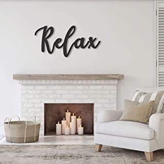 Horizontal Handmade Relax Sign Metal Word Home Mindfulness Wall Art Steel Cursive Decor Indoor Doors Yoga Spa Studio Inspirational Gift Hanging Retro Decorations (CUSTOM OPTION AVAILABLE)