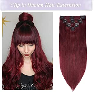 s-noilite Clip in Human Hair Extensions 100% Real Human Hair Double Weft Full Head 8 Pieces 18 clips Straight silky (22 inch - 160g,Wine Red (#99J))