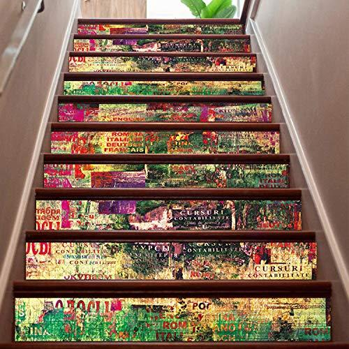 SQINAA Pegatinas 3D para escaleras, Autoadhesivas, extraíbles, Impermeables, para baldosas de escaleras, Adhesivos para baldosas Verticales para decoración de Sala de Estar (7.08 x 39.3 Pulgadas),D