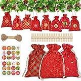 【Calendari dell'Avvento Fai-da-te Natalizi】 I sacchetti natalizi da 24 pezzi per regali contengono 8 modelli diversi, con 24 adesivi numerici che possono essere facilmente smontati e incollati alla borsa. I bambini possono facilmente contare alla rov...
