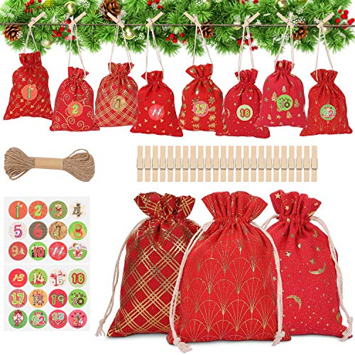 WOKKOL Sacchetto Regalo di Natale, Sacchetti con Adesivi Numerici, Avvento Calendario, Calendario Avvento Fai da Te, Natale Calendario dell'Avvento con 1-24 Adesivi Numerici(24 PCS -8Modelli)