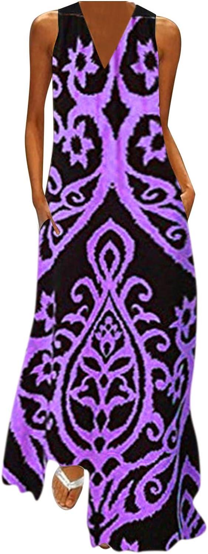 Summer Dress Woman,Women Dresses Summer Maxi,Women Sleeveless Print V-Neck Maxi Dress Summer Party Cami Dress with Pockets