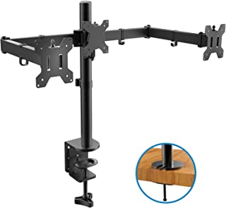 HUANUO Triple Monitor Stand   Adjustable 3 Arm Monitor Desk Mount Fits 19 20 21 22 23 24 Inch Flat/Curved Screens with Clamp, Grommet Mounting Base   VESA Compatible Tri Monitor Holder