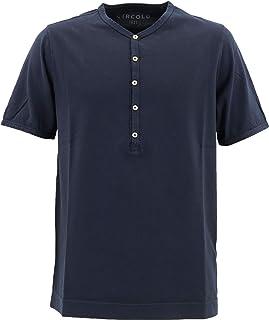 [CIRCOLO1901 チルコロ1901] メンズ コットン ヘンリーネック 半袖 Tシャツ 0104-256706 930(ネイビー)