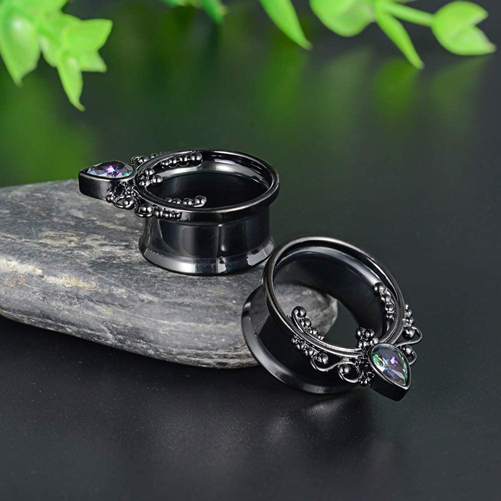 COOEAR 1 Pair Surgical Steel Ear Gauges Double Flared Seashell Ear Tunnels and Plugs Earrings Stretcher.