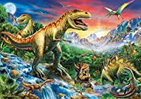 LPRTALK DIYクロスステッチキットダイヤモンド塗装、インドアホームおよびレストランクリエイティブデコレーションクリスタルラインストーン、ボール刺繍塗装ダイヤモンドアート、恐竜の楽園(35x45cm)