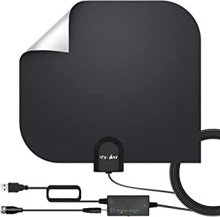 [2019 Newest] HDTV Antenna,Indoor Digital TV Antenna Amplified Support 4K 1080P VHF UHF & Older TV's Digital Antenna with Amplifier Signal Booster,17ft Coax Cable (White)