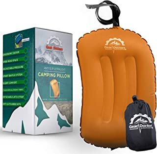 Gear Doctors Anti-Slip Ultralight Inflatable Camping Pillow -Ergonomic Design for Maximum Neck and Back Support - Compact ...
