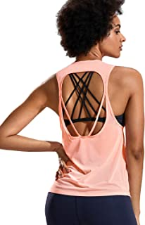 CRZ YOGA Women's Quick Dry Workout Tank Tops, Open Back Running Shirts, Sleeveless Active Wear