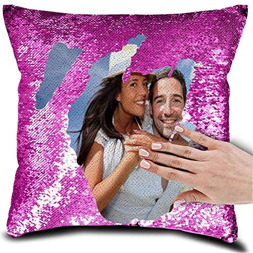 Gepersonaliseerde kussens gooien eigen ontwerp foto zeemeermin kussen omkeerbare pailletten magische kussen verjaardag cadeau voor vrouwen