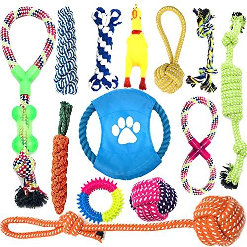 Anwin Hundespielzeug 13pcs Kauspielzeug Interaktives Spielzeug Set Intelligenz Hundeseile Spielset Seil mit geflochtem Ball aus Baumwolle Zahnreinigung für große mittelere kleine Hunde und Welpen