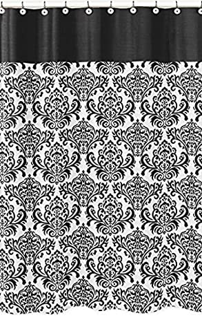 Black And White Damask Shower Curtain With Trim Border