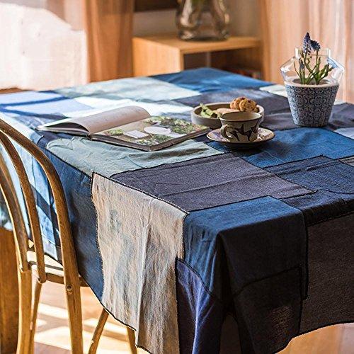 Denim Patchwork Toile en coton Style de campagne pour Table à Manger Familiale Décoration intérieure , 140*140cm