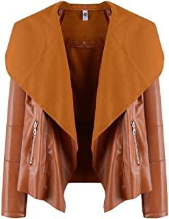 Women's Faux Leather PU Open Front Solid Lapel Motorcycle Short Jackets