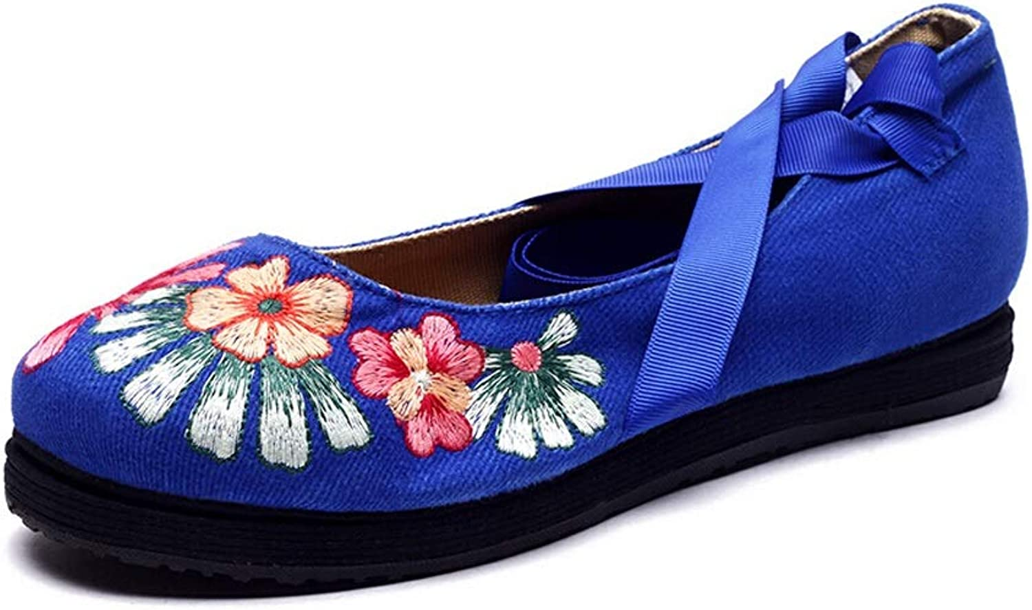 Summer National Wind shoes Women's Sense Belt with Layer of Embroidered shoes Soft and Comfortable Old Beijing Handmade shoes