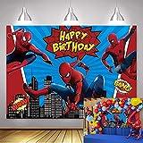Fondo de fotografía de superhéroe de Spiderman QLDZ Fondo de fotografía de superhéroe para niños Feliz cumpleaños Baby Shower decoración de fiesta Fondo 2,1x1,5 m