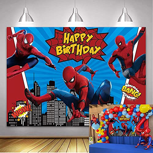 Super Hero Backdrop Red S-Piderman Super City Cityscape Blue Stripe Red Birthday Photography Background Boys Children Happy Birthday Party Decorations Baby Shower Cake Table Supplies 7x5FT