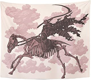Emvency Tapestry Black Ancient Death with Scythe Rides on Horse's Skeleton Engraving Vintage Light 8 Animal Home Decor Wall Hanging for Living Room Bedroom Dorm 50x60 Inches