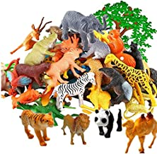 Safari Plastic Animals Figures Toys-53 Piece Mini Realistic Wild Vinyl Zoo Jungle Animal Toy Set, Learning Party Favors Toys for Boys Girls Kids Toddlers Forest Small Animals Playset Cupcake Topper