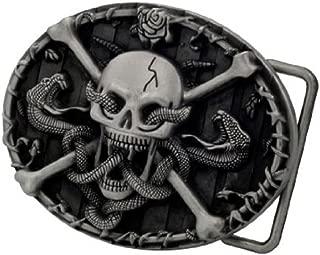 Adult Mens Skull & Crossbones with Snakes Western Belt Buckle Black