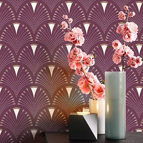 NEWROOM Tapete grafisch rot Muster Tapeten der 50er Art Deco Vliestapete Vlies Tapete Luxus Glamour inkl. Tapezier Ratgeber ǀ Grafik