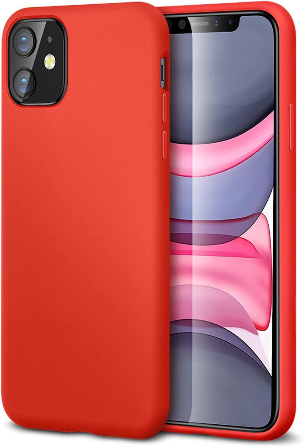 """ESR Funda Serie Yippee Color Soft para iPhone 11, Funda Suave de Silicona Líquida, Cómodo Agarre, Protección para Pantalla y Cámara, Absorción de Golpes. para iPhone 11 6,1"""".Rojo."""