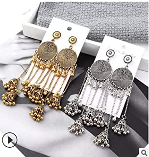 taxiner India Oxidized Long Chain Jhumka Jhumki Indian Drop Earrings for Women Jewelry