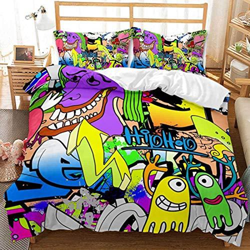 HJSM - Juego de ropa de cama con estampado de hip hop 3D graffiti, juego de ropa de cama con 2 fundas de almohada, para niños, adolescentes y niños (01,260 x 230 cm)