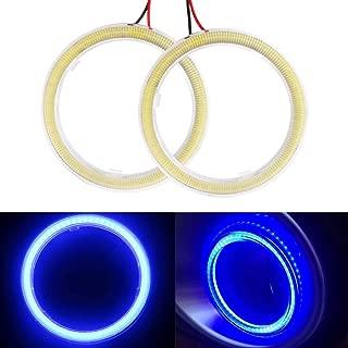 Everbrightt 1-Pair Blue 70MM 60SMD COB LED Headlight Angel Eyes Bulb Halo Ring Lamp Light with Housing