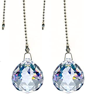 DLD Magnificent Crystal 20mm Clear Crystal Ball Prism 4 Pieces Dazzling Crystal Ceiling FAN Pull Chains