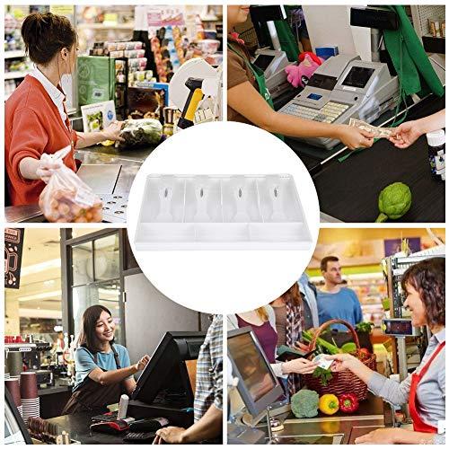 Inserto de caja registradora, inserto de cajón de caja registradora, plástico de calidad duradero para restaurante, tienda, supermercado, cafetería(white)