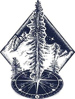 Majestic Pine Tree in Snowy Mountain Nature on Compass Geometric Art Vinyl Sticker  2  Tall