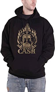 Johnny Cash Hoodie Ring of Fire Logo Official Mens Black Pullover