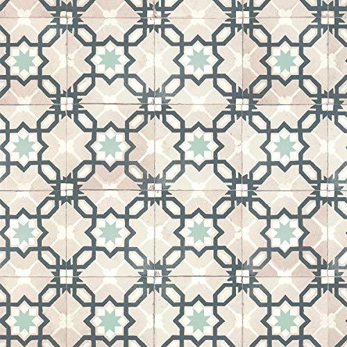 Lutèce 3309045118709 - Papel pintado de imitación de azulejos de cemento, azul, verde, gris, vinilo sobre no tejido, 51170204